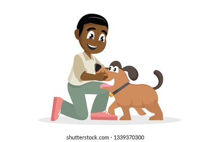Cartoon character, Child lovingly embraces his pet.,vector eps10