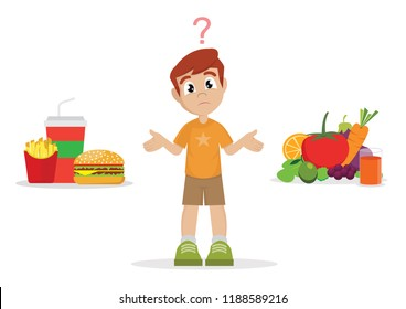 Cartoon character, The choice of Boy. junk food or healthy food., vector eps10