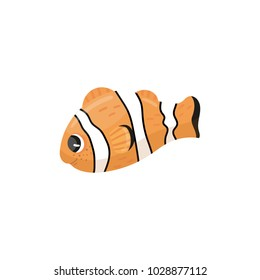Cartoon character of clownfish. Anemone fish in orange, black and white colors. Adorable marine creature. Sea animal. Underwater wildlife. Flat vector design