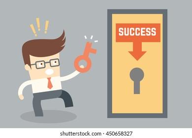 cartoon character conceptual design for key success failure