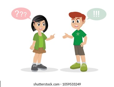 Cartoon character, Conflict. boy and girl quarrel.,vector eps10