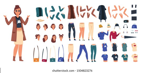 Cartoon character constructor. Woman in casual clothes animation set, young girl body elements and gestures. Vector kit trendy flat female kit for generator casual poses
