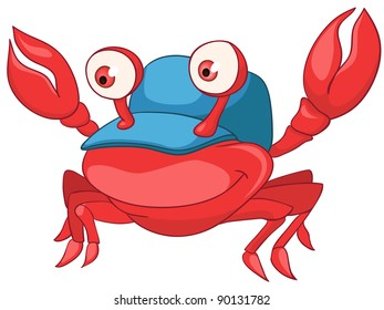 Cartoon Character Crab Isolated on White Background. Vector.