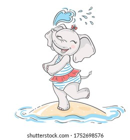 Cartoon character cute elephant girl. A cute smiling elephant in a swimsuit stands on the beach and sprinkles with water. Vector illustration.