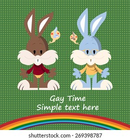Cartoon character of cute gay couple, two gay rabbits thinking about each other
