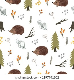 cartoon character cute hedgehog in the forest. seamless pattern