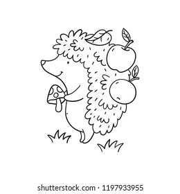 cartoon character cute hedgehog in the forest. Coloring page with hedgehog