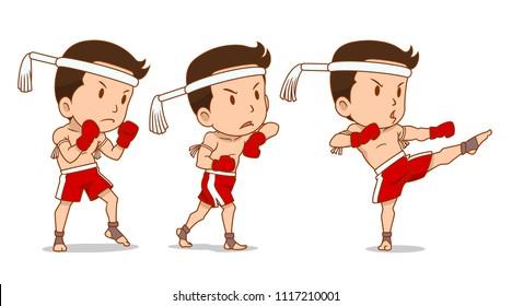Cartoon Character of cute Muay Thai boxer.