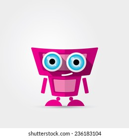 Cartoon Character Cute pink Robot Isolated on Grey Gradient