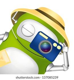 Cartoon Character Cute Robot. Tourist Photographer. Vector EPS 10.
