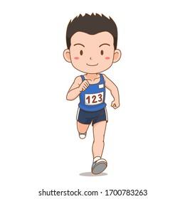 Cartoon character of cute runner boy.