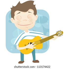 Cartoon Character Cute Teenager Isolated on White Background. Guitarist. Vector EPS 10.