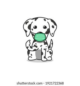 Cartoon character dalmatian dog wearing protective face mask for design.