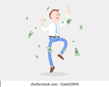 cartoon character dancing with a lot of money. Vector illustration