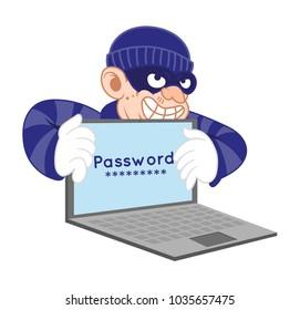 Cartoon character dangerous criminal insidious thief virus hacker dressed in dark mas stolen personal data and password with laptop. Internet fraud. Modern vector style illustration flat design.