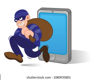 Cartoon character dangerous criminal thief hacker dressed in dark mask running with big bag stolen personal data with smartphone. Internet hacking fraud. Modern vector style illustration flat design.
