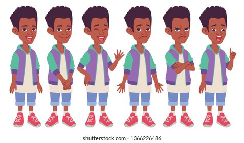 Cartoon character design. Black African American boy. Set of different standing poses, gestures and facial expressions. Vector illustration isolated on white background