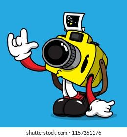 cartoon character design camera boy happy love photo on background  blue