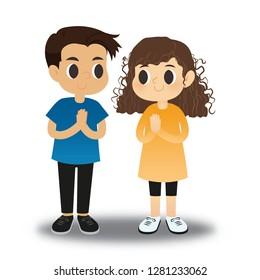 Cartoon character design a girl  and a boy , Pay respectful.