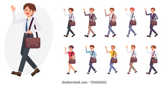Cartoon character design male business man wave hand greeting say hello collection