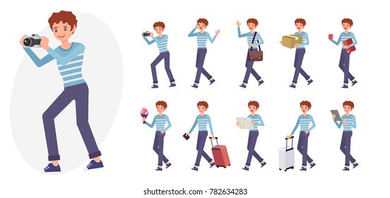 Cartoon character design male man collection in ten different pose and gesture