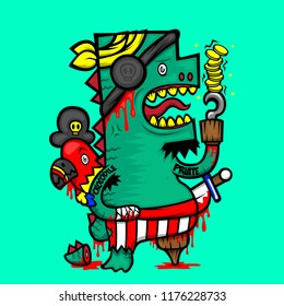 cartoon character design monster crocodile pirate hold the money