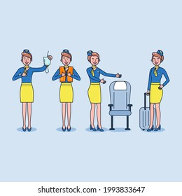 Cartoon Character design. Set of one charactor Stewardess in blue and yellow uniform. Air hostess demonstrate the use of emergency equipment on board to passengers. Vector illustration flat design
