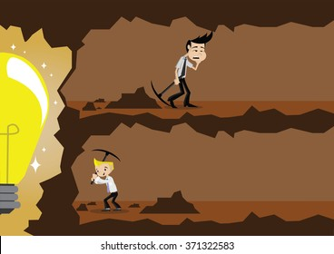 Cartoon character, diligence businessman going to succeed and businessman no effort, vector eps10