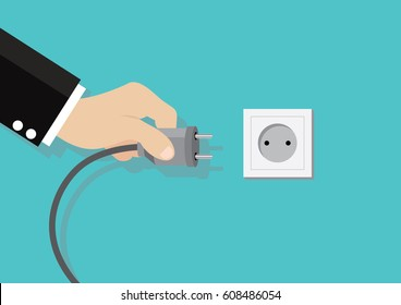 Cartoon character, Electric power plug holding in hand.., vector eps10