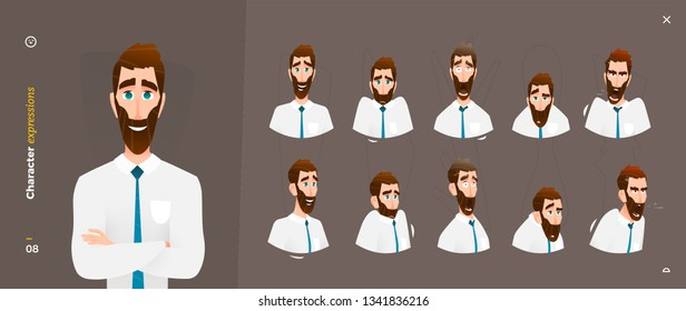 Cartoon Character Expressions. Face Emotional