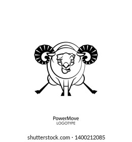 Cartoon character farm animal. Funny cool ram posing on two hooves on a white background. Vector illustration. Fitness fleece.