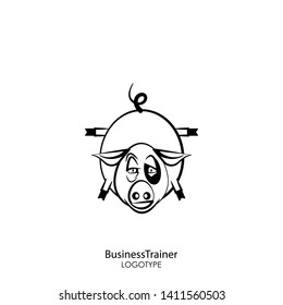 Cartoon character farm animal. Funny cool pig posing standing on its front legs against a white background. Vector illustration. Fitness or business coach.