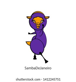 Cartoon character farm animal. Funny cute sheep stands in a pose of dance on a white background. Vector illustration. Fitness fleece. Body positive. Samba De Janeiro!