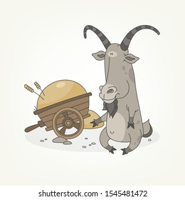 Cartoon character of a farm animal. A funny cute crooked goat sits next to a hay cart and poses. Vector illustration