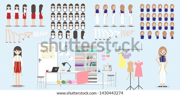 Cartoon Character Fashion Designer Job Animation Stock Vector Royalty Free 1430443274