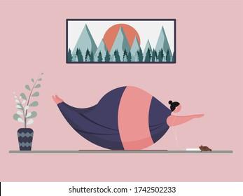 Cartoon Charakter Fett Frau Yoga und Meditation Entspannung Zeit, sicher und ruhig Aufenthalt zu Hause