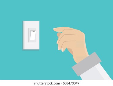 Cartoon character, Finger pressing off switch for Save power., vector eps10