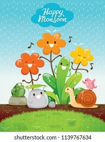 Cartoon Character Of Flowers And Animals Happiness In The Rain, Monsoon, Rainy Day, Season, Raindrop, Natural, Soaked