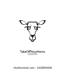 Cartoon character of a forest animal. The head of a funny cute deer. Emotional grimaces. Vector illustration. Honestly. Be honest. Take off your horns.