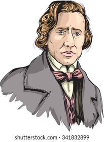 Cartoon character of Frederic Chopin