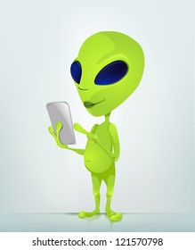 Cartoon Character Funny Alien Isolated on Grey Gradient Background. Tablet User. Vector EPS 10.