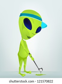 Cartoon Character Funny Alien Isolated on Grey Gradient Background.Golf. Vector EPS 10.