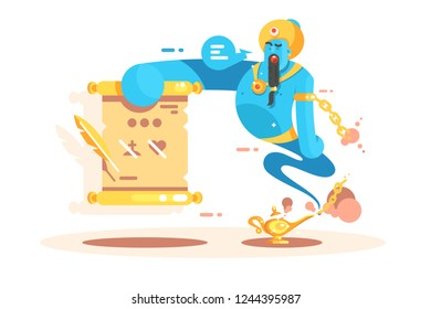 Cartoon character genie from golden lamp poster. Jinn appearing and ready to grant you three wishes flat style concept vector illustration. Funny jinnee with magic powers