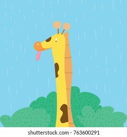 Cartoon character, giraffe portrait with toung on sky background.