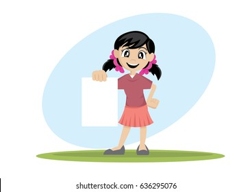 Cartoon character, Girl holding blank paper., vector eps10