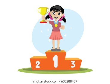 Cartoon character, Girl holding a trophy winner on a podium., vector eps10