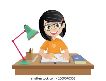 Cartoon character, Girl makes a homework., vector eps10