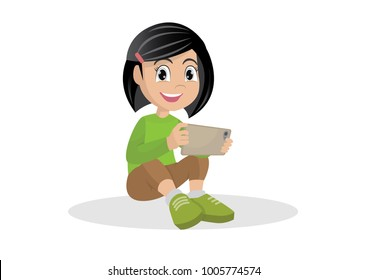 Cartoon character, Girl sitting on the floor with a tablet computer in hands., vector eps10