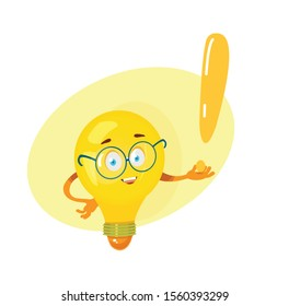 cartoon character glowing light bulb vector illustration