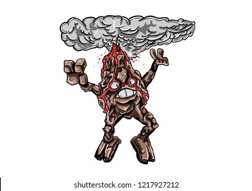 cartoon character golem. Vector jumping and splashing lava. Suitable for Earth Day